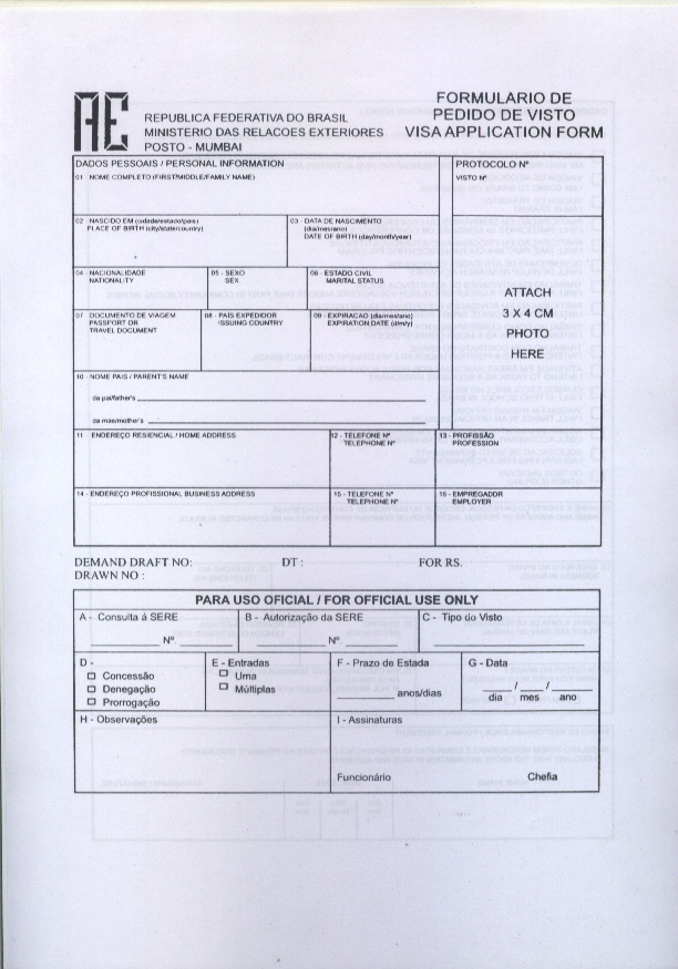 Brazil Visa Application Form Pdf